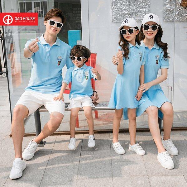 áo váy gia đình màu xanh thiên thanh