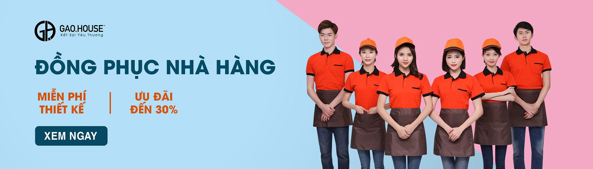 Banner đồng phục nhà hàng xưởng may gạo house
