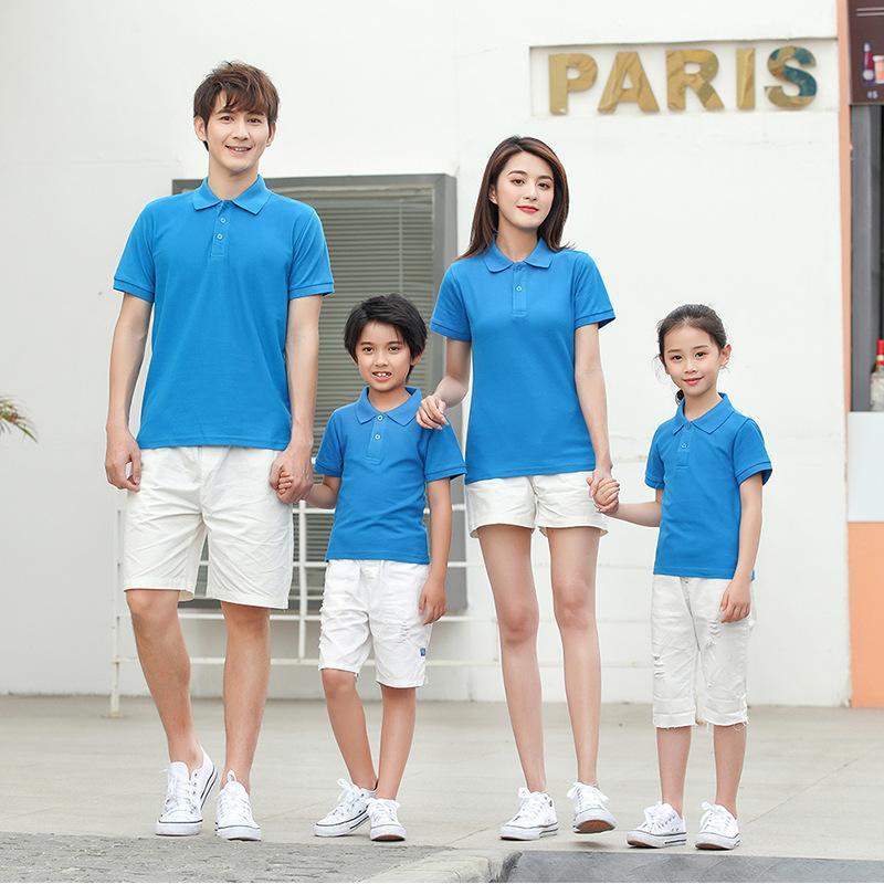 áo gia đình có cổ màu xanh dương