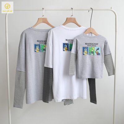 áo gia đình 3 người phối kẻ ngang