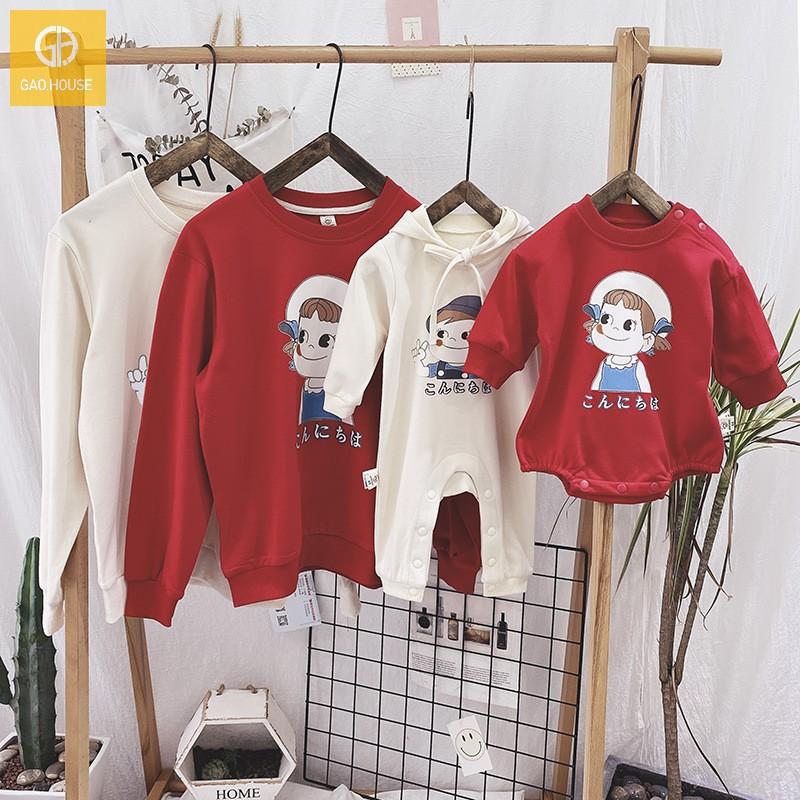 Áo gia đình mùa đông in hình cô gái dễ thương AGD0072