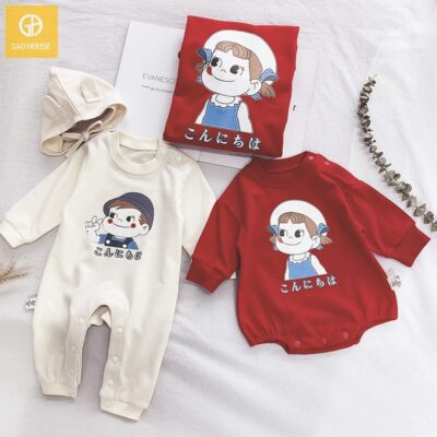 Áo gia đình mùa đông in hình cô gái dễ thương màu đỏ cho bé