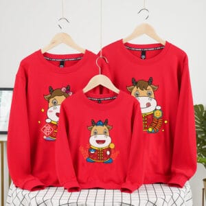 áo gia đình tết màu đỏ